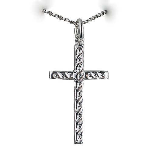 Silver 29x17mm embossed Celtic knot design Cross with a curb Chain 22 inches