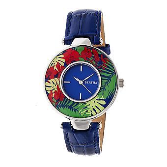 Bertha Elizabeth Unique Bezel Leather-Band Watch - Silver/Blue
