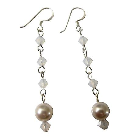 White pearl with 4mm White Opal Star Shine Crystals Dangling Earrings
