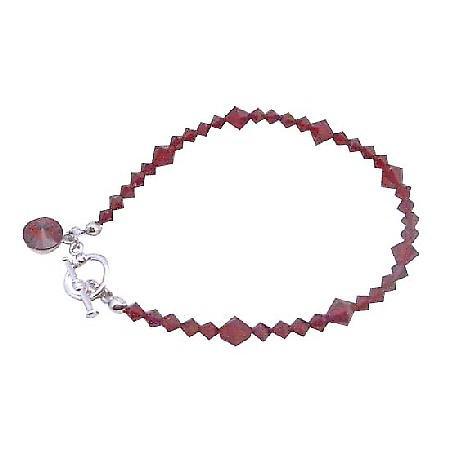 Valentine Faceted Siam Red Swarovski Crystal Round Drop Down Bracelet