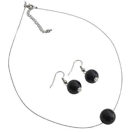 Gorgeous Pearl Necklace Earrings Black Pearl Elegance Jewelry