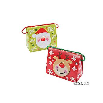 6 Santa and Rudolph Christmas Favour or Gift Boxes   Christmas Party Loot Bags