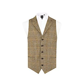 Harris Tweed Mens Brown Tweed Waistcoat Regular Fit 100% Wool Windowpane Check Notch Lapel