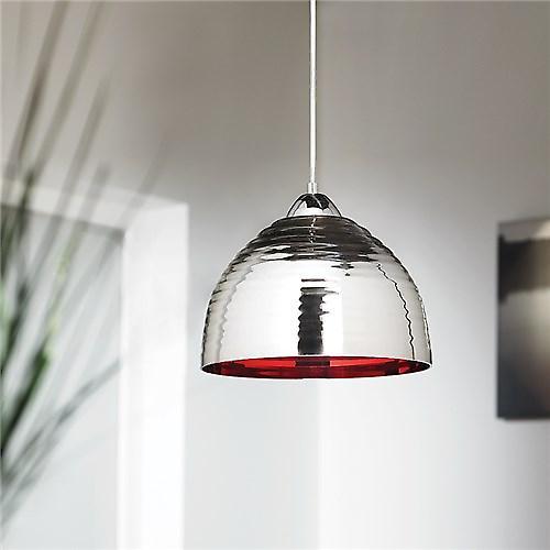 Endon ELEKTRA-CHRE Elektra Modern Chromed Ribbed Glass Pendant With Red Inner