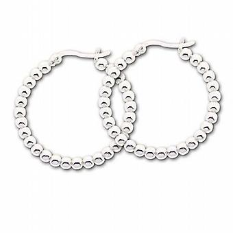 The Olivia Collection Sterling Silver 3cm Beaded Creole Earrings
