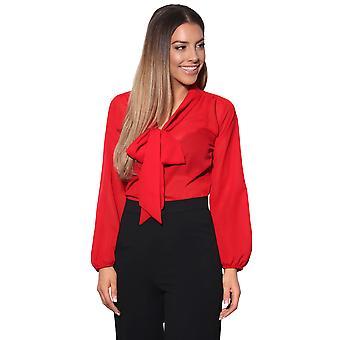 KRISP Womens ver a través de gasa blusa pajarita de manga larga camisa inteligente