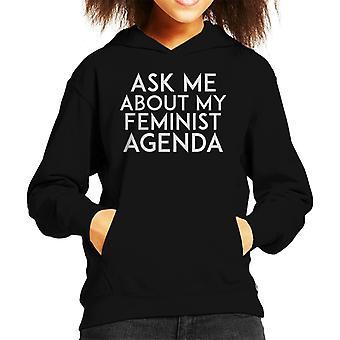 Ask Me About My Feminist Agenda Kid's Hooded Sweatshirt