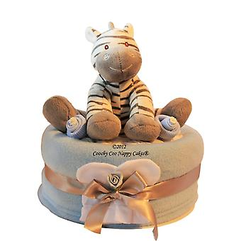 Blue Baby Boy Zebra Nappy Cake