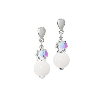 Eternal Collection Enchantment Mountain Jade And AB Crystal Silver Tone Drop Clip On Earrings