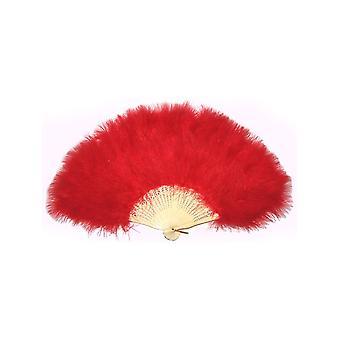 Abanico con plumas - rojo