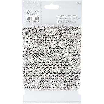 Papermania Ever After Wedding Crochet Trim 10m-Silver 36mm PM158620