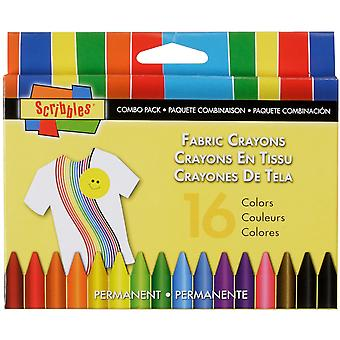 Scribbles Fabric Crayons 16 Pkg 30644