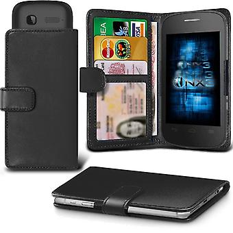 ONX3 Alcatel Fire E Leather Universal Spring Clamp Wallet Case With Card Slot Holder and Banknotes Pocket-Black