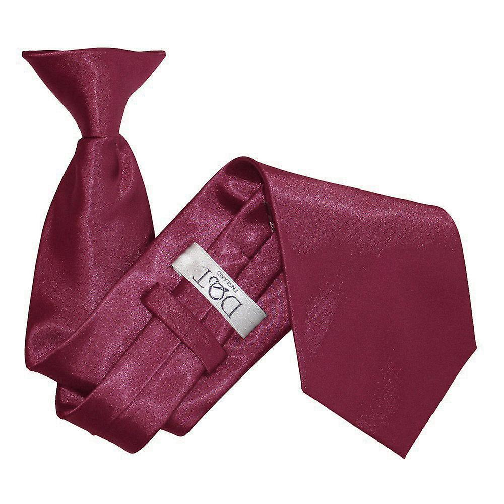 Plain Burgundy Satin Clip On Tie