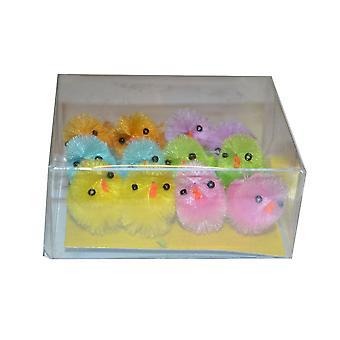 Farvet Mini Fluffy påske kyllinger (pakke med 12)