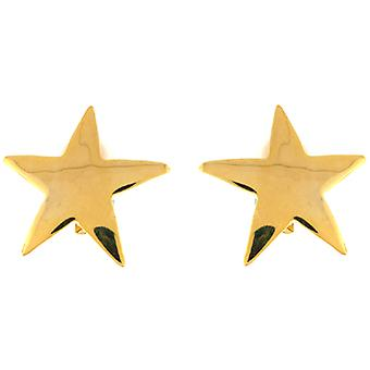 Kenneth Jay Lane Large Gold Plated Star Shaped Clip On Earrings