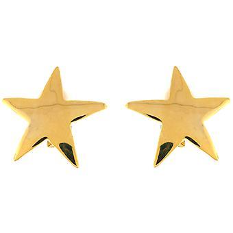 Kenneth Jay Lane oro plateado estrella grande en forma de Clip en pendientes