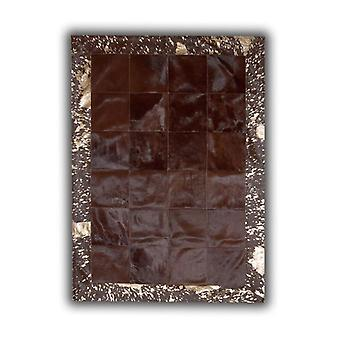 Rugs -Patchwork Leather Cubed Cowhide - Brown with Acid Bronze Border