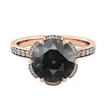 14k oro 1.50 CTW diamante nero anello rosa con diamanti fiore Vintage unica