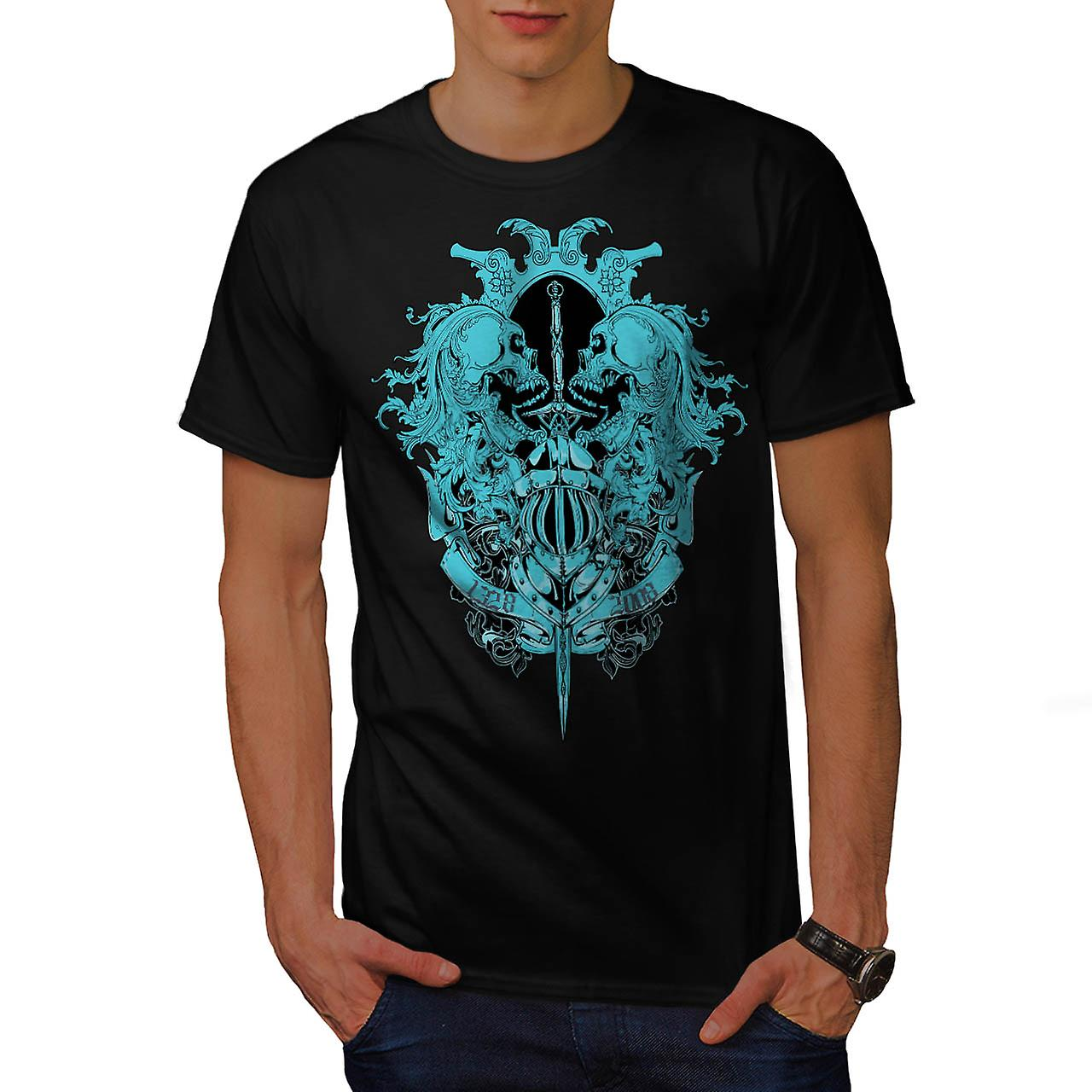 Skeleton Battle Sword Fear Fight Men Black T-shirt | Wellcoda