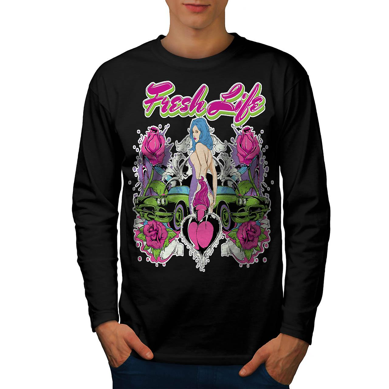 Fresh Life Motor Car Love Heart Men Black Long Sleeve T-shirt | Wellcoda