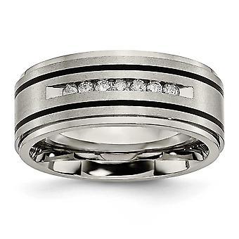Titanium polerad borstad emaljerad 1 / 4ct Tw. 9mm Band diamantring - Ring storlek: 8-13