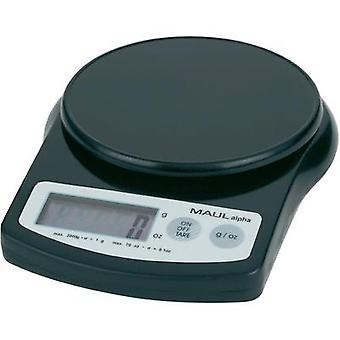 Letter scales Maul MAULalpha 2000G Weight range 2 kg Readability 1 g battery-powered Black