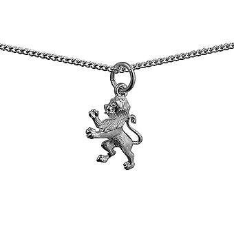 Silver 15x12mm Rampant Lion Pendant with a curb Chain 24 inches