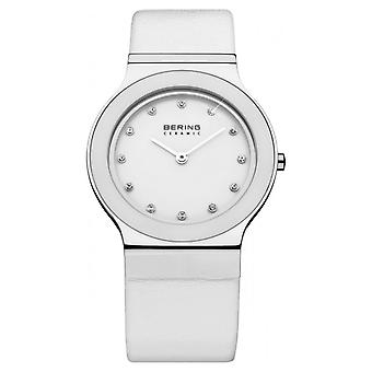 Bering ladies slim ceramic - 32834-654 leather wristwatch watch