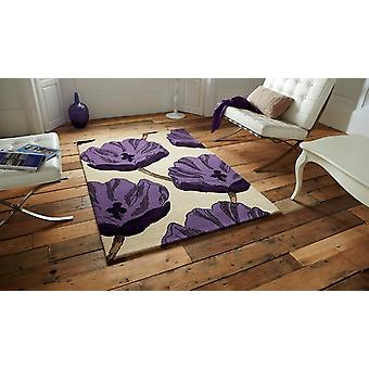 Luxurious Cream & Purple Soft Floral Wool Rugs Sorrento 30