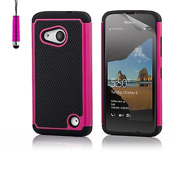 32nd shock proof case + penna för Microsoft Lumia 550 - Hot Pink