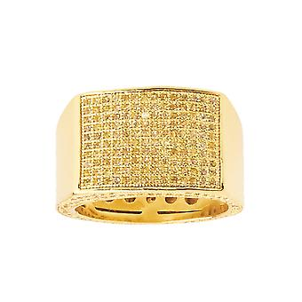 Iced Out Bling Micro Pave Ring - KINGS gold / canary