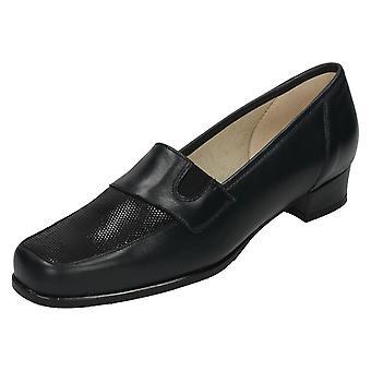 Ladies Nil Simile Leather Court Shoes Ebony
