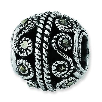 Sterling Silver Antique finish Reflections Marcasite Bali Bead Charm