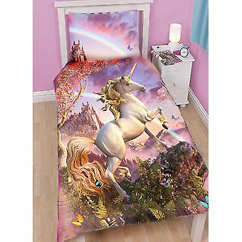 AWESOME UNICORN - Duvet and Pillow Covers Set for Single Bed