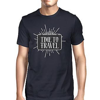 Tijd om te reizen van Mens Navy Crewneck katoen T-shirt cadeau voor de zomer