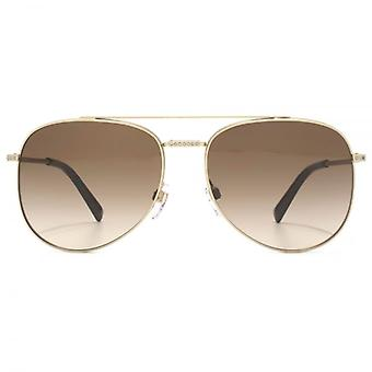 Valentino Diamante Bridge Aviator Sunglasses In Matte Sandblast Light Gold