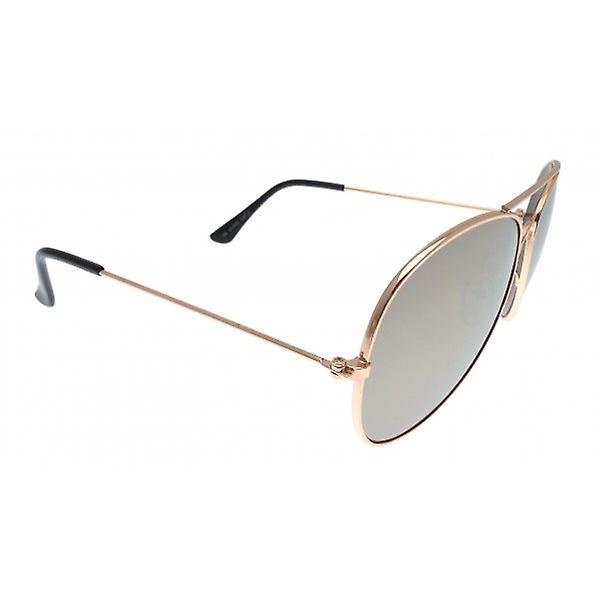 W.A.T Classic Unisex Aviator Sunglasses With Rose Gold Frames And Mirrored Lenses