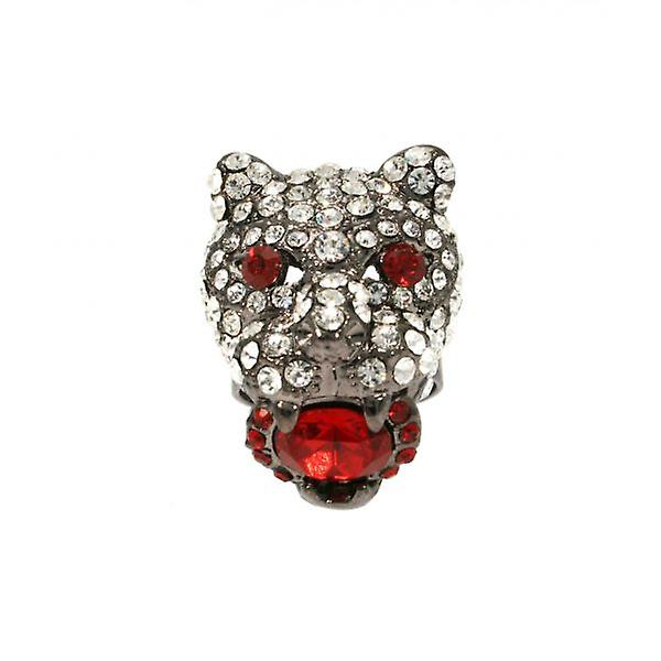 W.A.T Clear Swarovski Crystal Panther Head Ring