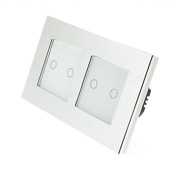 I LumoS Silver Brushed Aluminium Double Frame 4 Gang 1 Way Remote & Dimmer Touch LED Light Switch White Insert