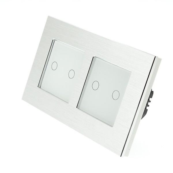 I LumoS argent Brushed Aluminium Double Frame 4 Gang 2 Way WIFI 4G Remote Touch LED lumière Switch blanc Insert