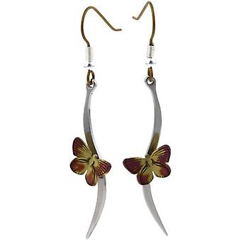 Ti2 Titanium Woodland Butterfly Stem Drop Earrings - Brown