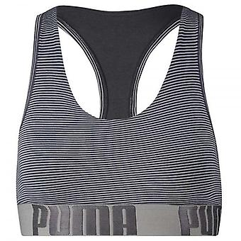 PUMA Women Cotton Modal Stretch Mini Stripe Bralette, Light Blue / Periscope, XS