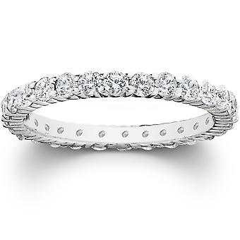 Platinum 1ct Prong Diamond Eternity Wedding Ring