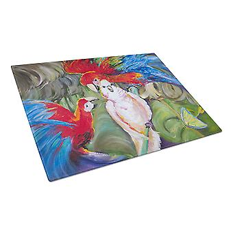 Carolines Treasures  JMK1018LCB Menage-a-trois Parrots Glass Cutting Board Large