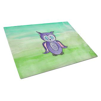 Carolines Treasures  BB7429LCB Purple Owl Watercolor Glass Cutting Board Large