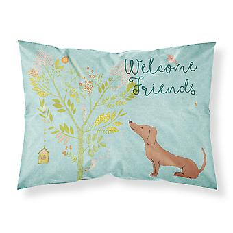 Welcome Friends Red Dachshund Fabric Standard Pillowcase