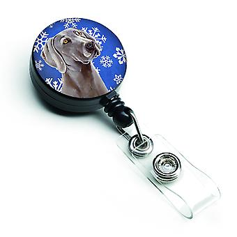 Weimaraner Winter Snowflakes Holiday Retractable Badge Reel