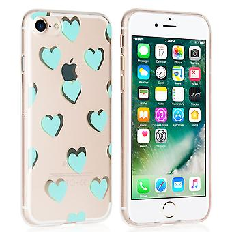 Yousave Accessories Iphone 7 Gel Case - Green Hearts