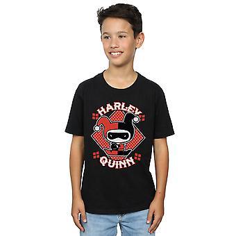 DC Comics Boys Chibi Harley Quinn Badge T-Shirt